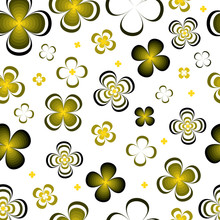 Monochrome Abstract Yellow Green Flowers On White Background.Seamless Pattern.