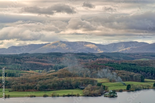 Fototapeta A panoramic view of the Windermere and the Coniston fells in the English Lake District. obraz na płótnie