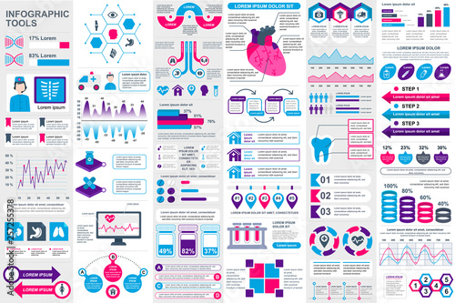 Photo  Medical infographic elements data visualization vector design template