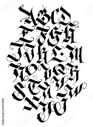 Carta da parati Handwritten calligraphy alphabet vector set