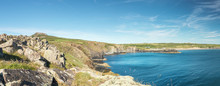 Wide Panoramic View Over Whitesands Bay In Pembrokeshire
