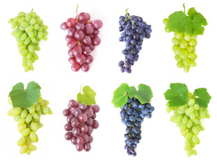 grapes with leaves set isolated on white background