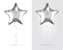 Set Of Silver Star Foil Balloo...