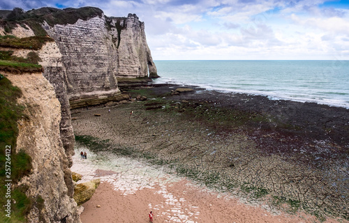 he famous white natural cliffs Aval of Etretat and beautiful famous coastline, N Canvas Print
