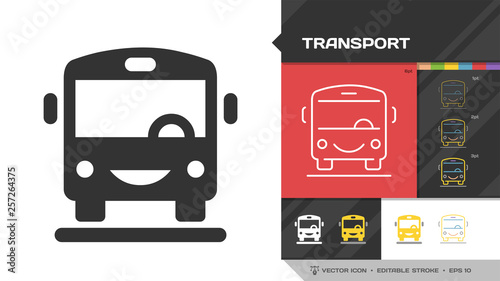 Transport black glyph silhouette and editable stroke thin outline single icon with public bus vehicle transportation sign Fototapet