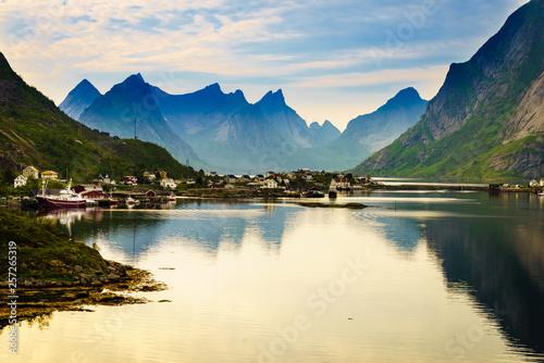 Fotomural  Fjord and mountains landscape. Lofoten islands Norway