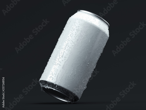 Cuadros en Lienzo Aluminum beer or soda can with droplets isolated on black, 3d rendering