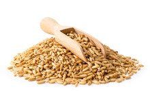 Heap Of Oat Grain With A Woode...