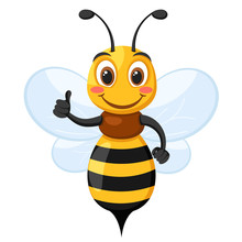 Bee Smiles And Shows Like On A White. Character