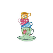 Cute Retro Coffee Cups And Tea Cups Stacked, Vector Illustration