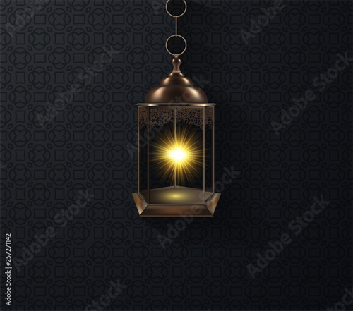 Ornamental Arabic lantern glowing at night Wallpaper Mural