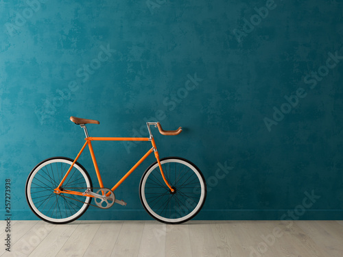 Blue bicycle on pink background 3D illustration Canvas Print