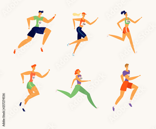 Fototapeta Happy Athlete People Characters Running Marathon. Man and Woman Runners. Individual Sports, Fitness Jogging Competition, Race Concept. Vector cartoon illustration obraz
