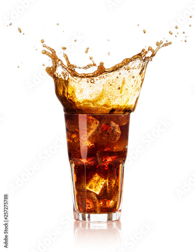 Garden Poster Splashing water splash cola isolated on white background