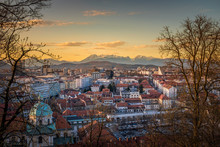 View Over Ljubljana With Sunset To Mountain Range Kamnik–Savinja Alps