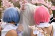 canvas print picture - Cosplay Girls unter Kirschblüten