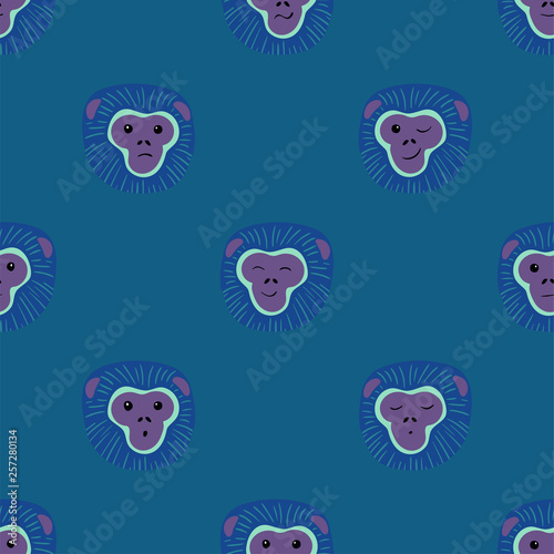 Photo Seamless Pattern With Gibbon Monkey Faces.