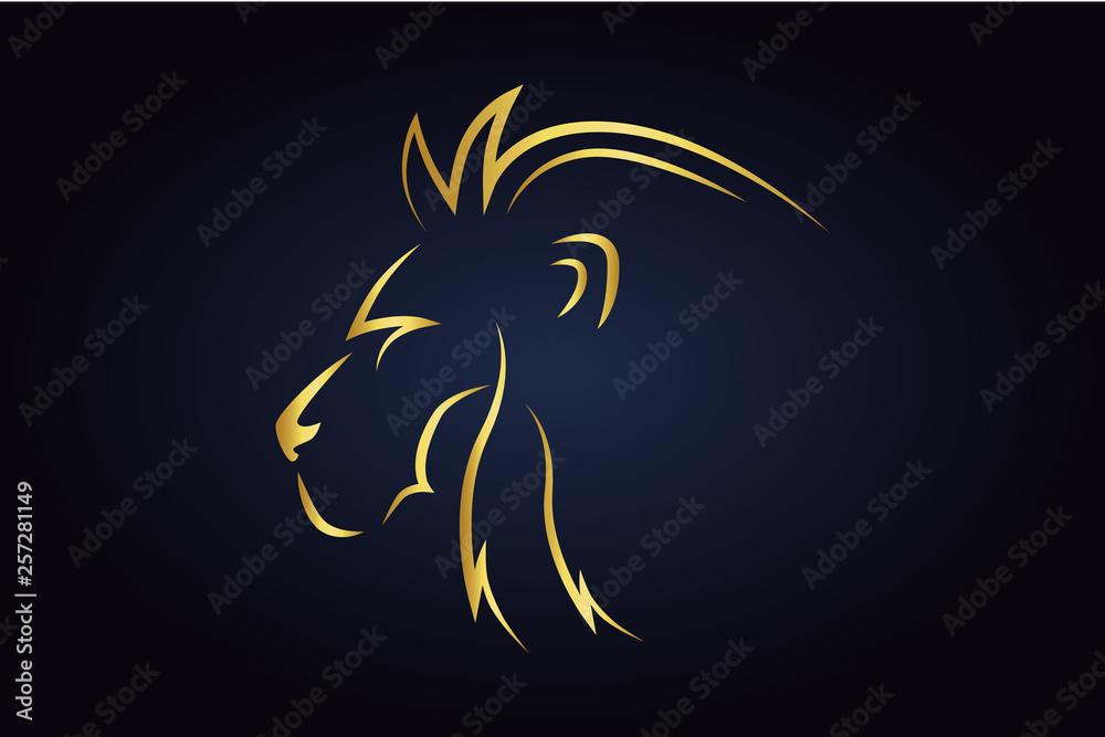 Fototapeta King lion head silhouette turned to the left side. Golden safari animal head. Wildlife vector logo. Side view of leo head