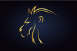 King lion head silhouette turned to the left side. Golden safari animal head. Wildlife vector logo. Side view of leo head
