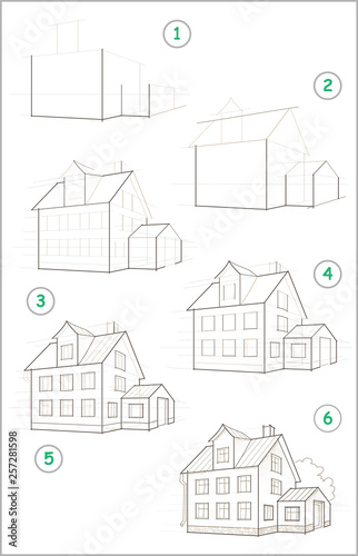 Fotografie, Obraz  Page shows how to learn step by step to create pencil drawing of house