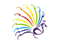 Colorful Peacock Isolated On White Background. Vector Violet Peafowl Bird With Feathers In Rainbow Colors. Wild Bird Logo. Peacock With Colorful Tail.