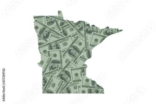 Minnesota State Map and Money Concept, Hundred Dollar Bills Canvas Print