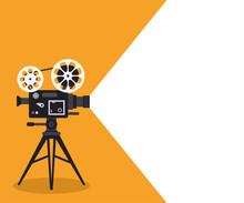 Retro Cinema Projector On Post...