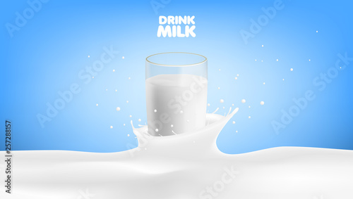 Carta da parati Realistic Milk In A Glass With Shadow