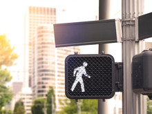 Commercial Cityscape, Crosswalk Light, Space For Advertisement