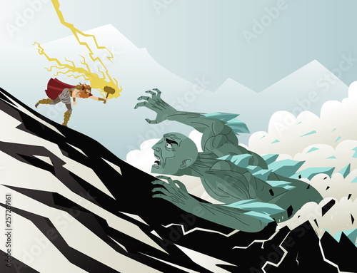 norse mythology thor fighting a frost ice giant monster ogre Wallpaper Mural