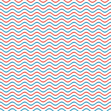 Seamless Pattern - Wavy Rippling Blue And Red Striped Background