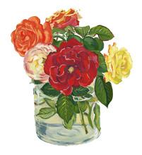 Watercolor Flower Bouquet In V...