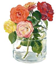 Watercolor Flower Bouquet In Vase. Roses.