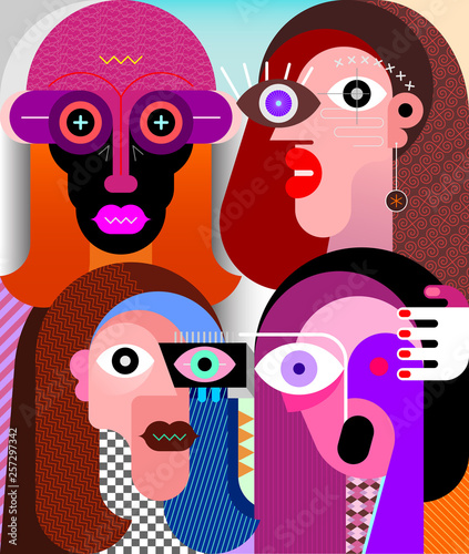 Photo sur Aluminium Art abstrait Four Characters vector illustration