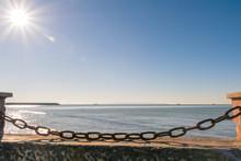 Rusty Chain Blocking The Beach
