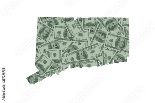 Photo  Connecticut State Map and Money Concept, Hundred Dollar Bills