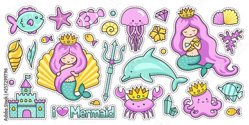Mermaids, fish, dolphin, crab, octopus and jellyfish Wallpaper Mural
