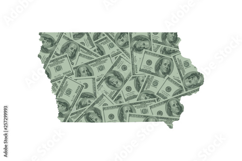 Photo Iowa State Map and Money Concept, Hundred Dollar Bills