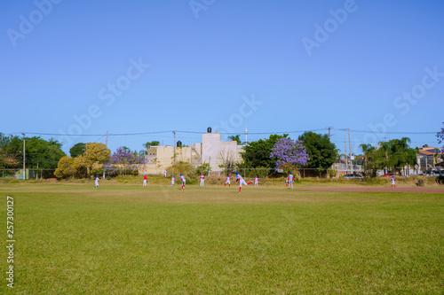 Fotografía  Los niños están calentando para el juego de béisbol.