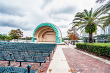 ORLANDO, FLORIDA, USA - DECEMBER, 2018: The Rainbow Painted Amphitheater In Remembrance Of The Victims Who Died In The Pulse Tragedy.