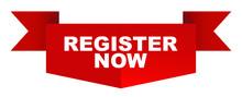 Red Vector Banner Register Now