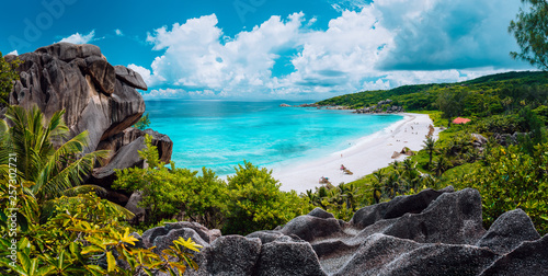 Panoramic view of most spectacular tropical beach Grande Anse on La Digue Island, Seychelles. Vacation holidays relaxing concept