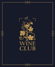 Wine Club Emblem With Grapes And Glass