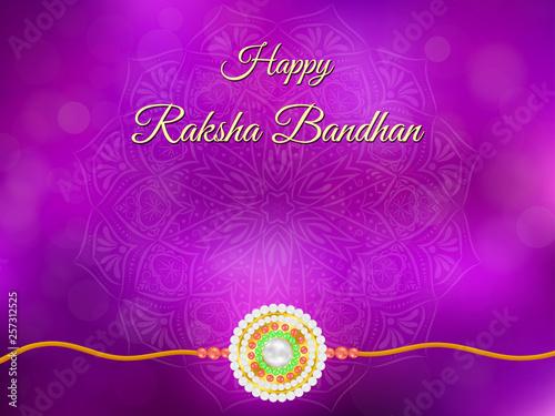 Foto  Happy Raksha Bandhan background with mandala and rakhi