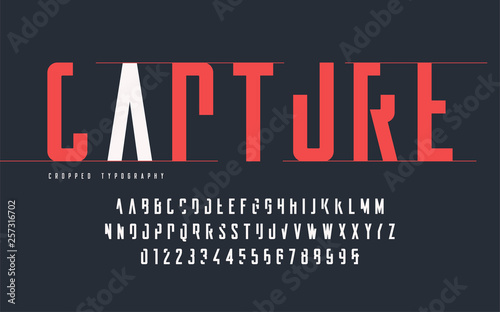 Cropped typography, set of uppercase letters and numbers, alphabet Fototapet