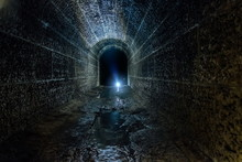 Dark And Creepy Old Historical Vaulted Flooded Underground Drainage Tunnel