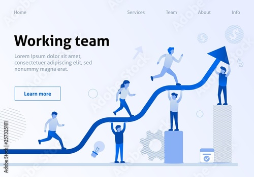 Photo  Teamwork Interaction Efficiency Business Template