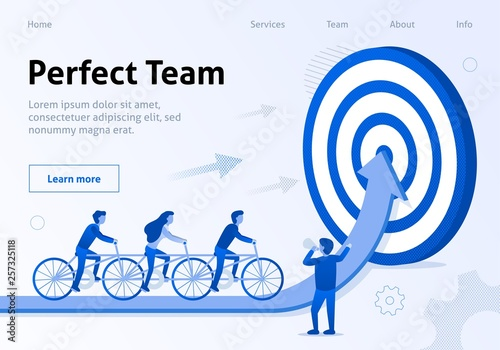 Photo  Perfect Team Cooperation Flat Banner for Business