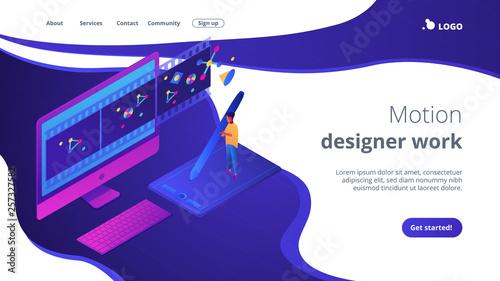 Fotografie, Tablou Motion graphic design isometric 3D landing page.