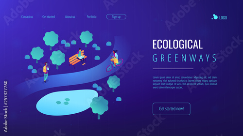 Poster Violet Ecological greenway isometric 3D landing page.